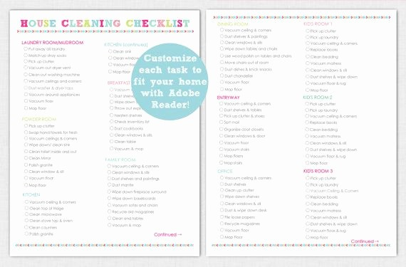 Free Editable Cleaning Schedule Template Fresh Editable House Cleaning Checklist Printable Instant