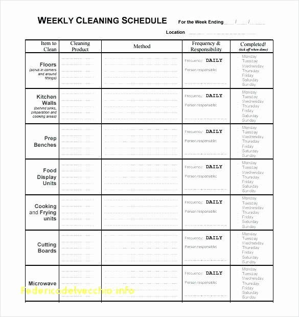 Free Editable Cleaning Schedule Template Fresh House Cleaning Schedule Daily Weekly Monthly Daily