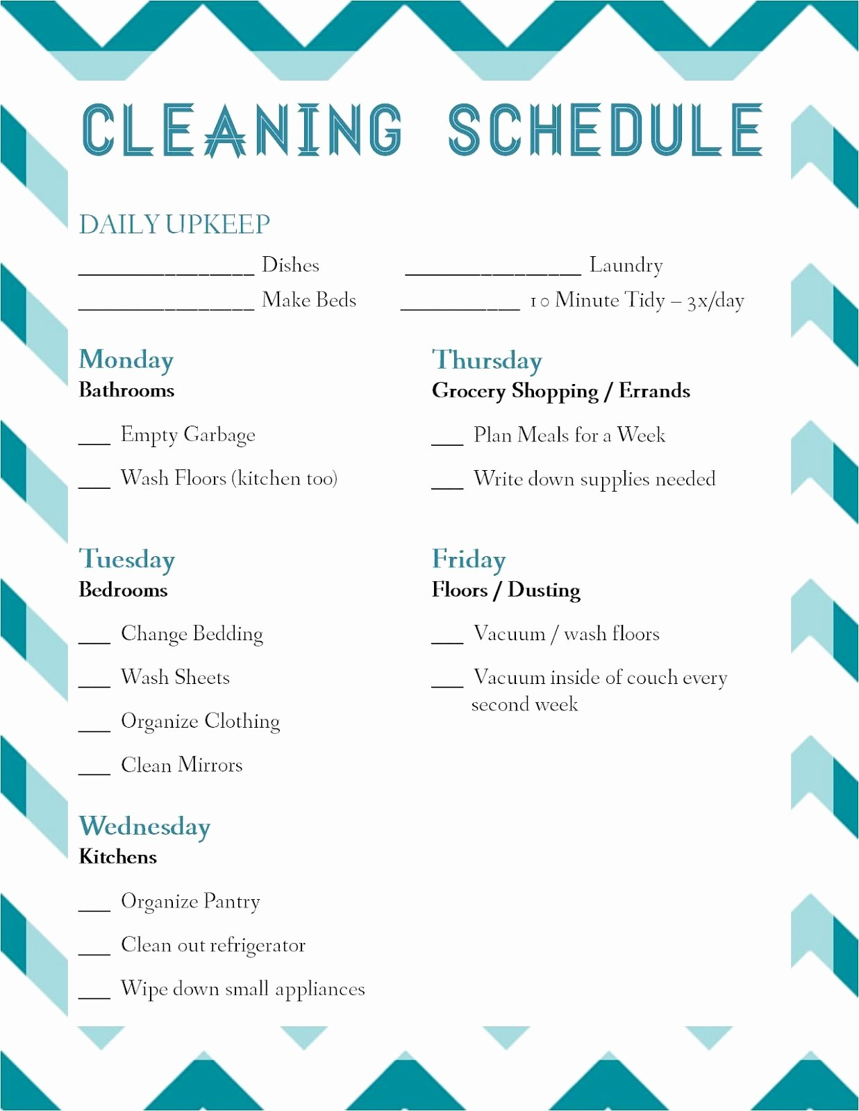Free Editable Cleaning Schedule Template Fresh Laura thoughts Housekeeping