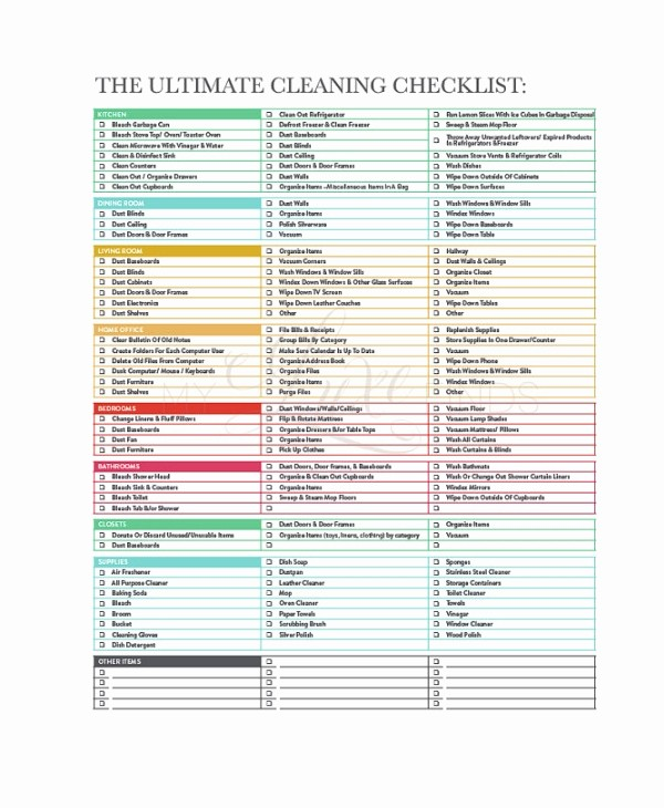 Free Editable Cleaning Schedule Template Lovely Cleaning Checklist 23 Free Word Pdf Psd Documents