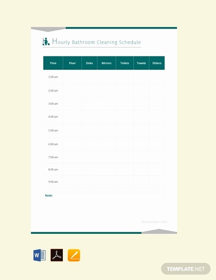 Free Editable Cleaning Schedule Template Lovely Free Hourly Bathroom Cleaning Schedule Template Download