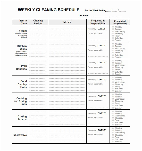 Free Editable Cleaning Schedule Template New Restaurant Cleaning Schedule Template