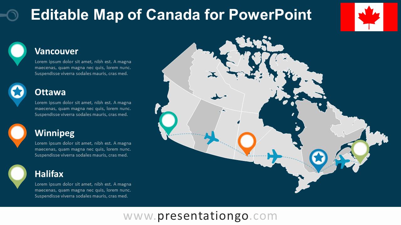 Free Editable Map Of Us Inspirational Canada Editable Powerpoint Map Presentationgo