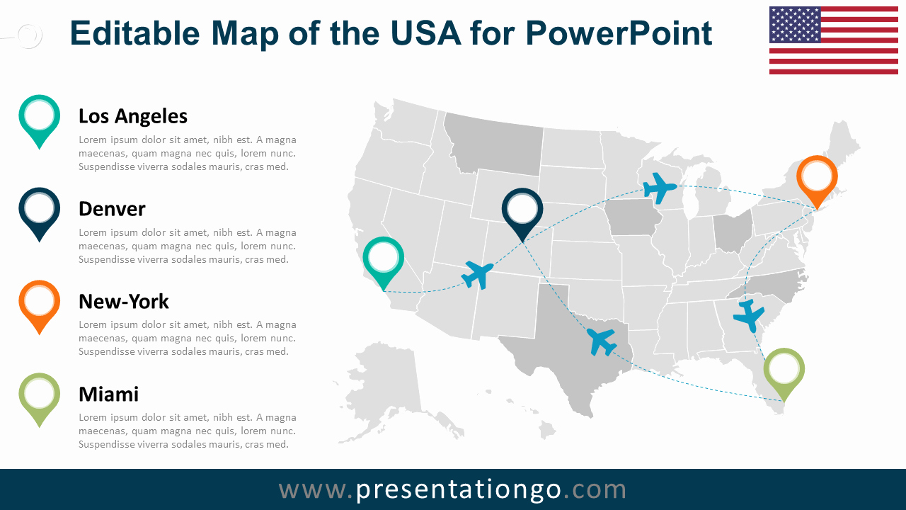 Free Editable Map Of Us New Usa Editable Powerpoint Map Presentationgo