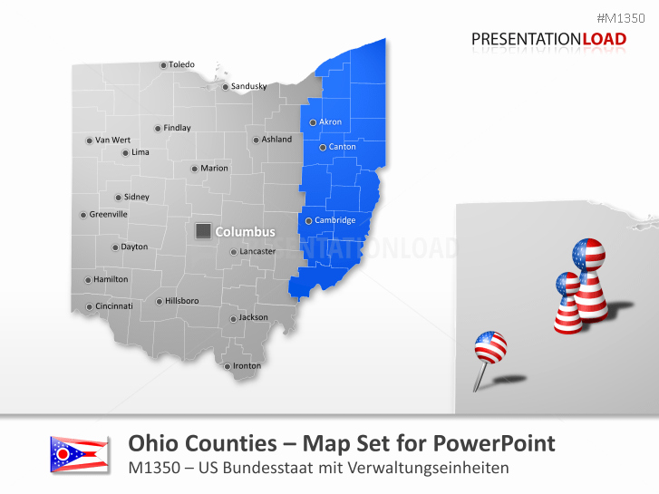 Free Editable Maps Of Usa Awesome Powerpoint Map Ohio Counties Usa