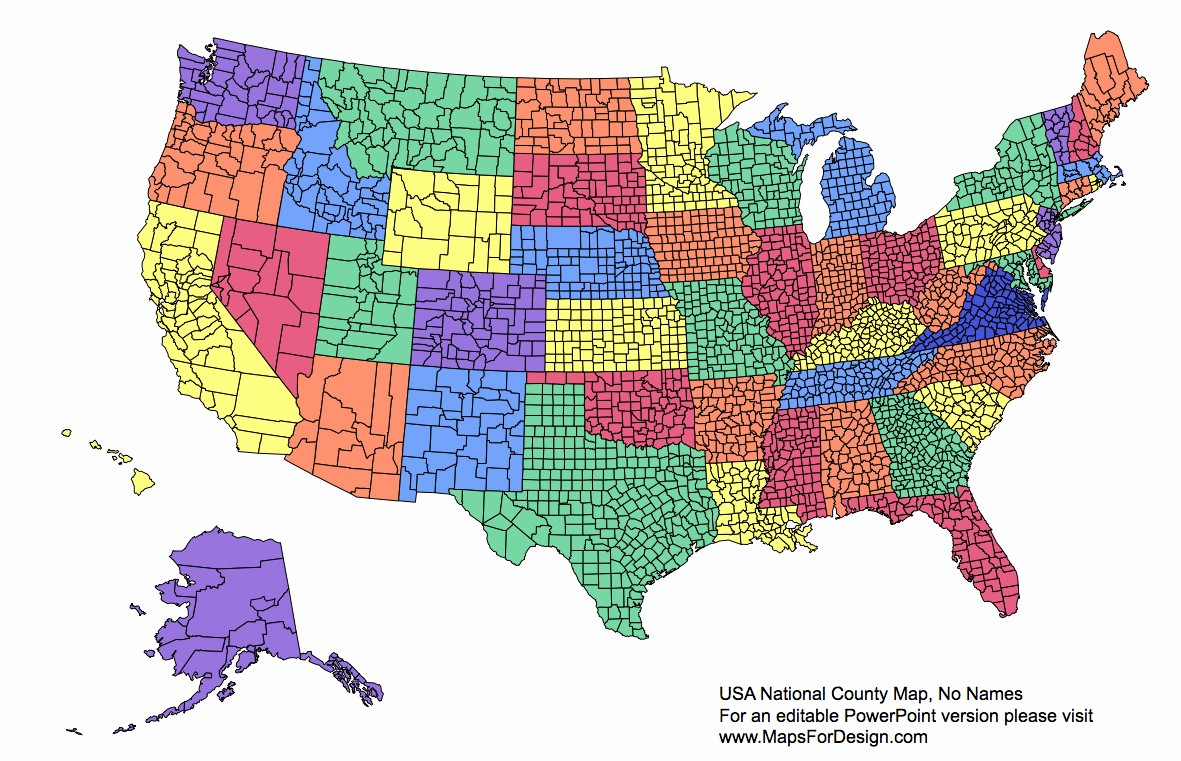 Free Editable Maps Of Usa Awesome Us National County Editable County Powerpoint Map for