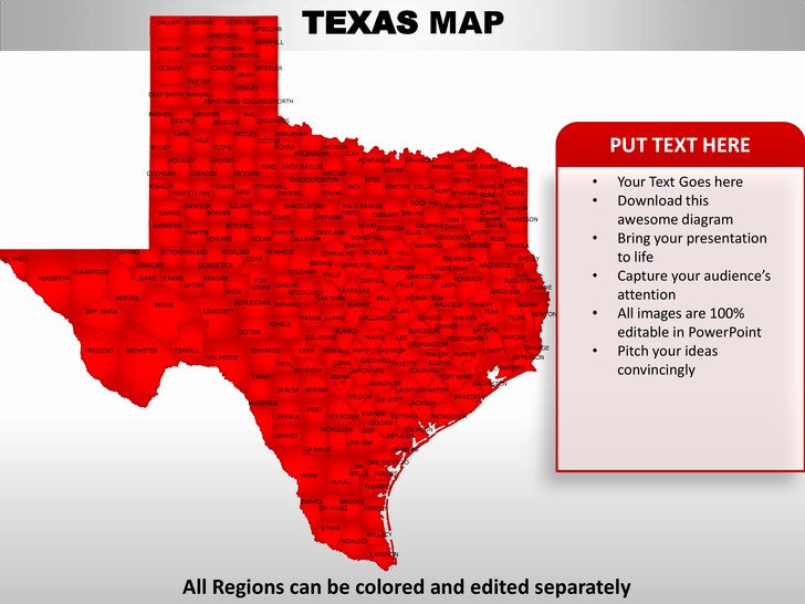 Free Editable Maps Of Usa Inspirational Usa Texas State Powerpoint County Editable Ppt Maps and