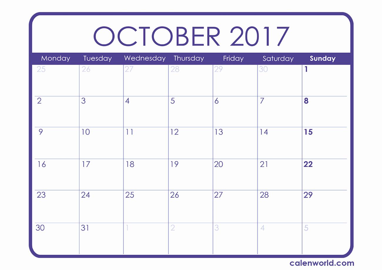 Free Editable Printable Calendar 2017 Awesome Calendar for October 2017 – 2017 Printable Calendar