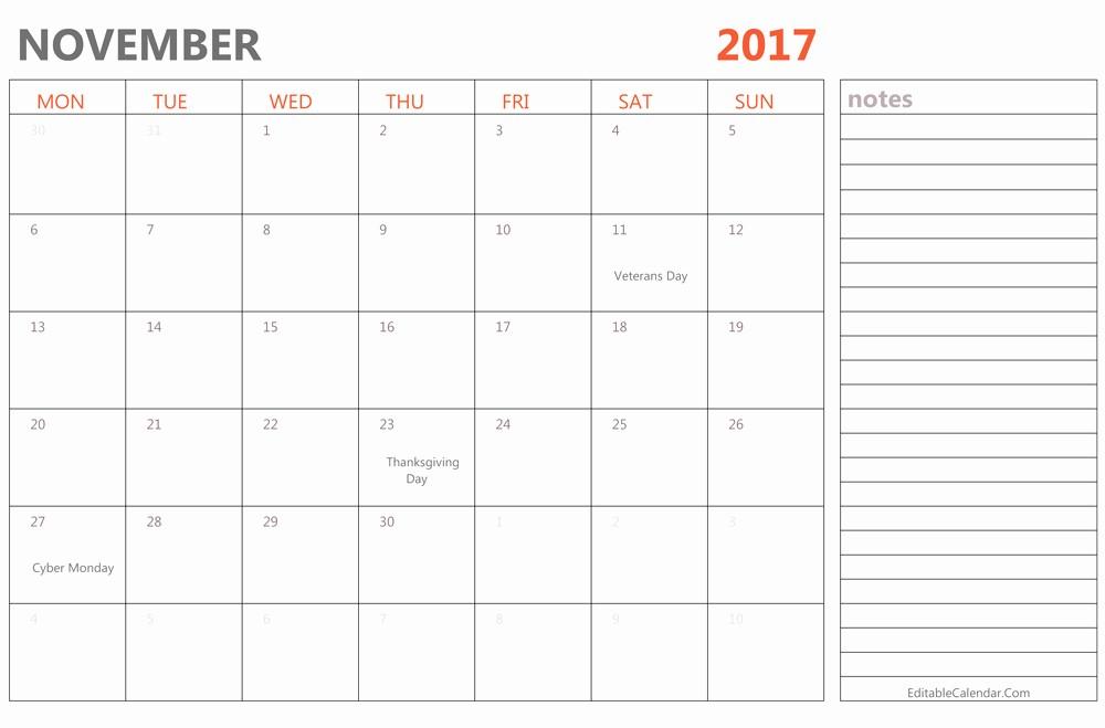 Free Editable Printable Calendar 2017 Fresh Editable November 2017 Calendar Template Ms Word Pdf