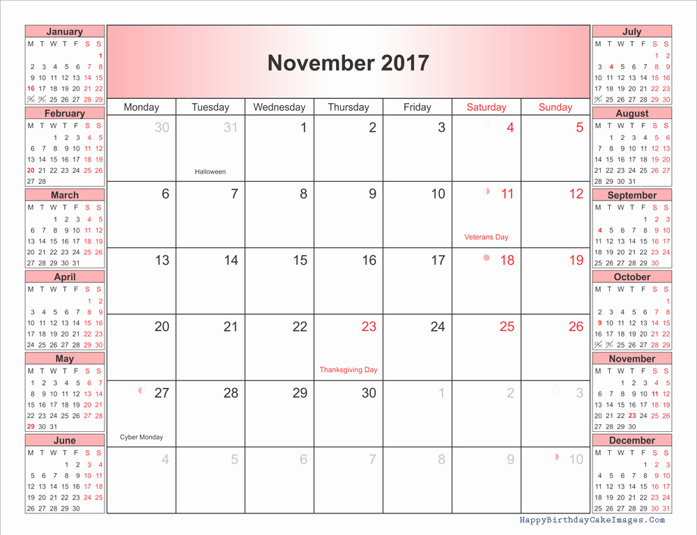 Free Editable Printable Calendar 2017 Inspirational November 2017 Calendar with Holidays – Calendar Template 2018