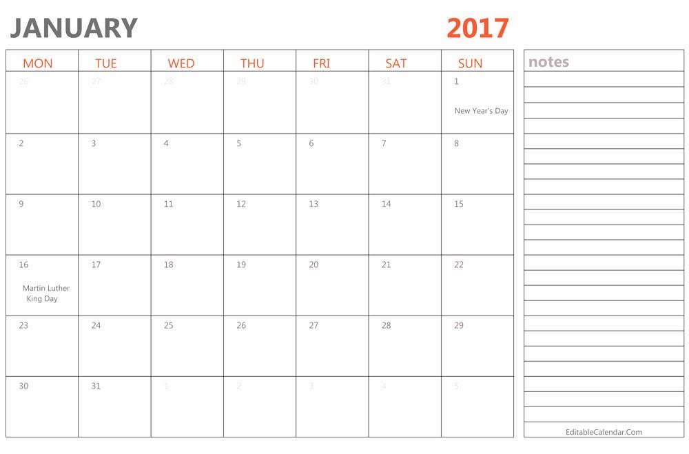 Free Editable Printable Calendar 2017 Lovely Editable January 2017 Calendar Template Ms Word