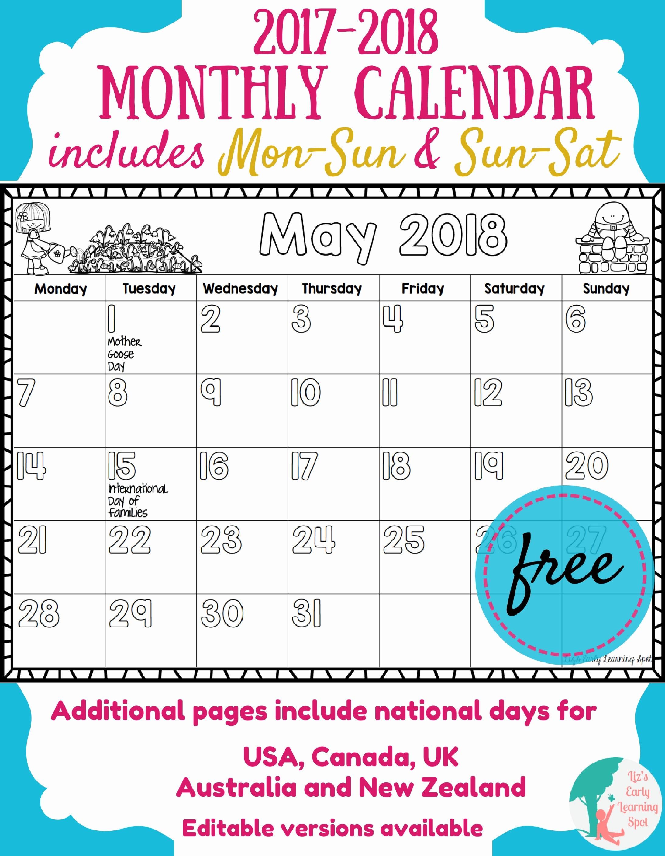 Free Editable Printable Calendar 2017 Lovely Free 2017 2018 Monthly Calendar for Kids