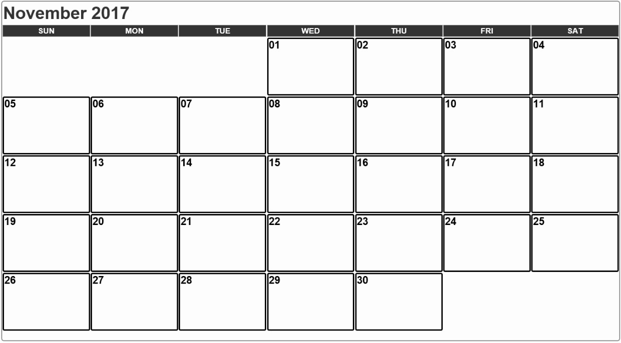 Free Editable Printable Calendar 2017 New November 2017 Calendar Editable