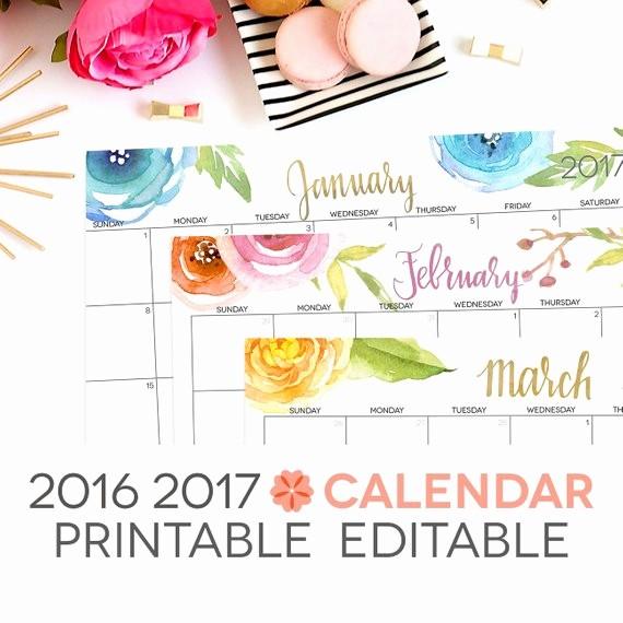 Free Editable Printable Calendar 2017 Unique 2017 Calendar Printable Editable Digital by Perennialplanner