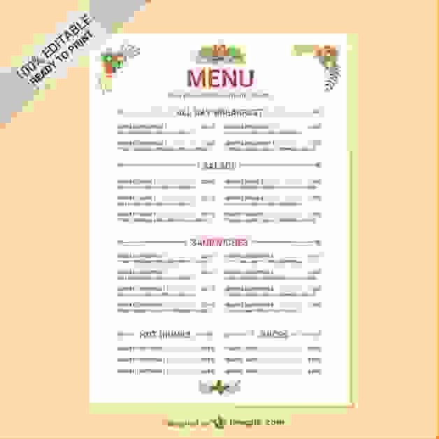 Free Editable Restaurant Menu Templates Awesome 6 Restaurant Menu Templates Free
