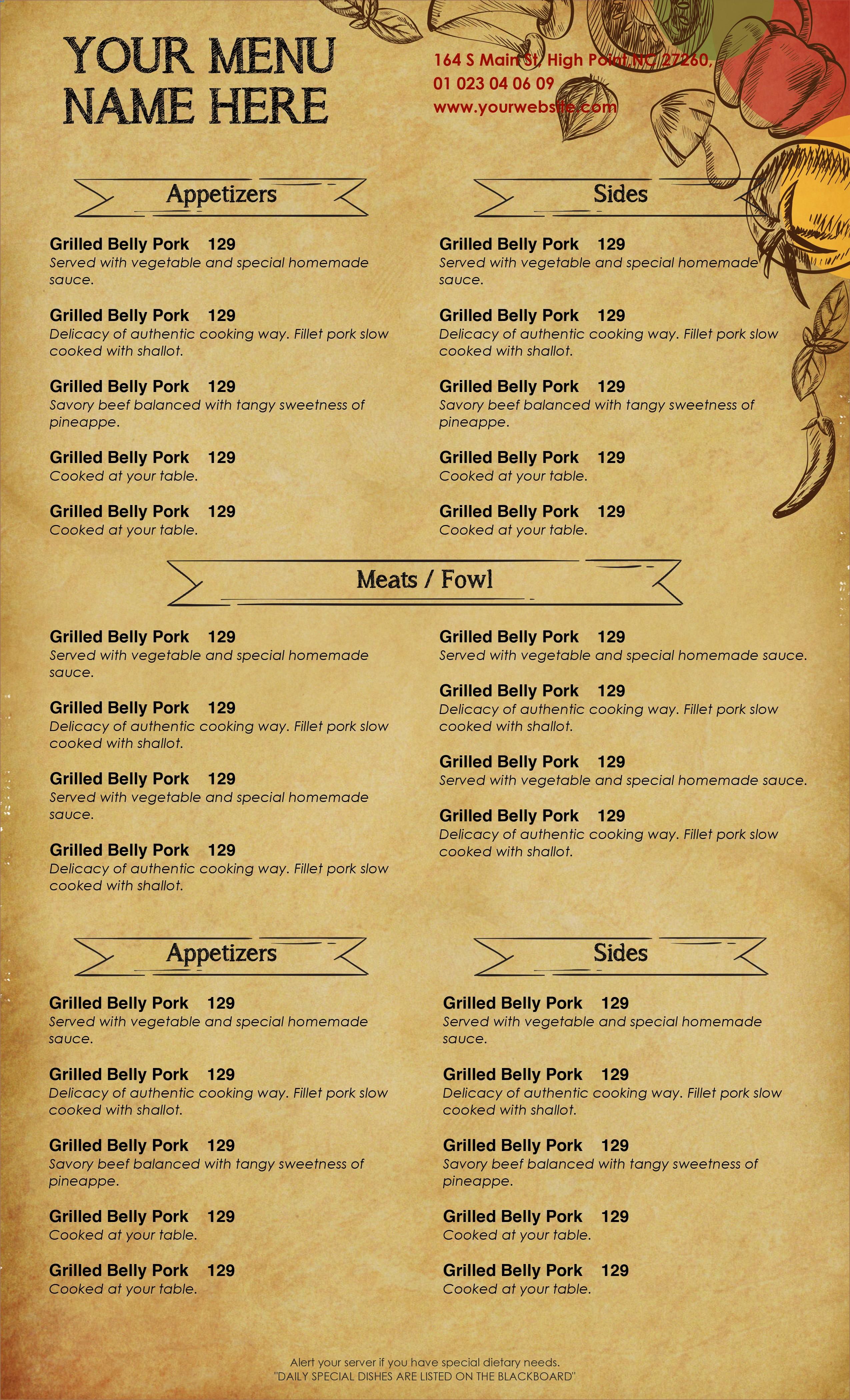 Free Editable Restaurant Menu Templates Awesome Design & Templates Menu Templates Wedding Menu Food