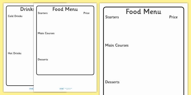 Free Editable Restaurant Menu Templates Best Of Editable Menu Writing Frame Editable Editable Menu