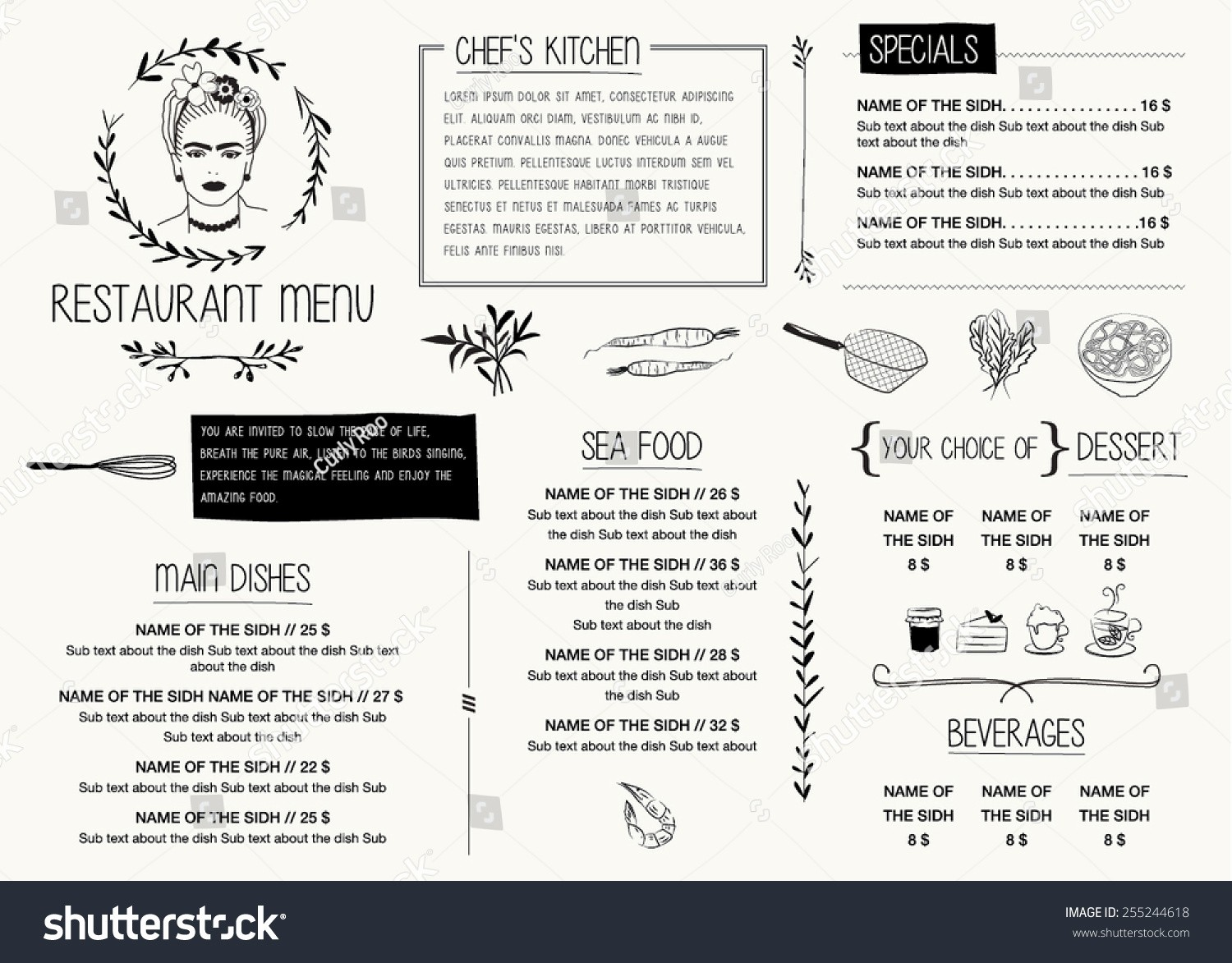 Free Editable Restaurant Menu Templates Best Of Restaurant Menu Template Vector Illustration File with