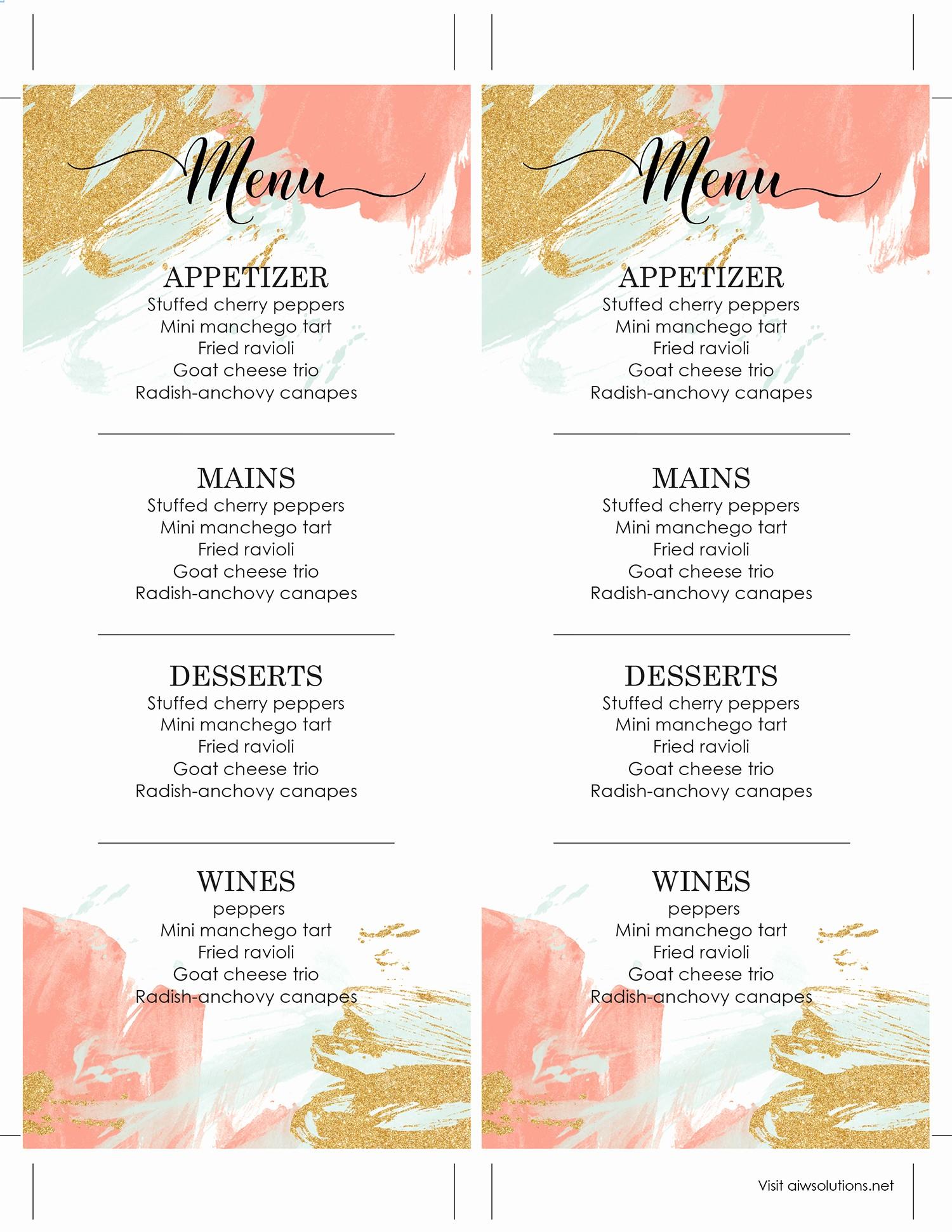 Free Editable Restaurant Menu Templates Elegant Design & Templates Menu Templates Wedding Menu Food