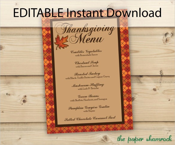 Free Editable Restaurant Menu Templates Inspirational Thanksgiving Menu Template 27 Free Psd Eps format