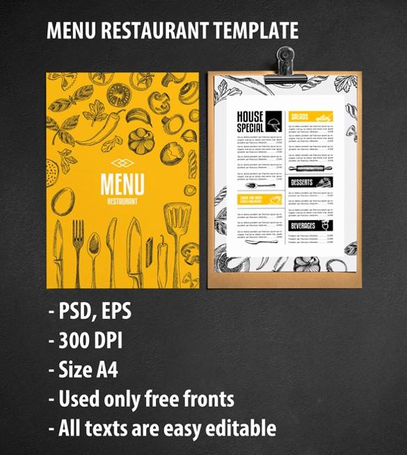 Free Editable Restaurant Menu Templates Lovely 40 Menu Design Templates – Free Sample Example format