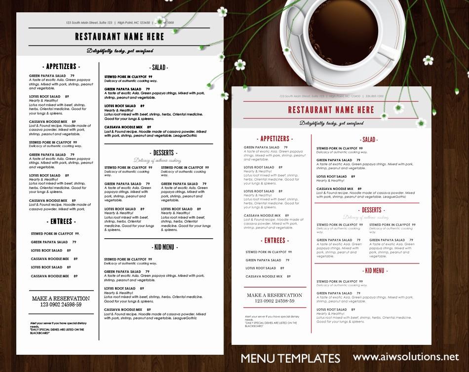 Free Editable Restaurant Menu Templates Lovely Design & Templates Menu Templates Wedding Menu Food
