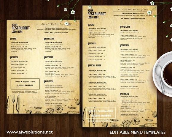 Free Editable Restaurant Menu Templates Lovely Restaurant Menu Id22 Brochure Templates On Creative Market