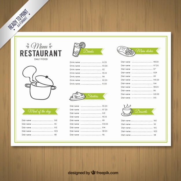 Free Editable Restaurant Menu Templates Lovely Sketchy Menu Template Vector