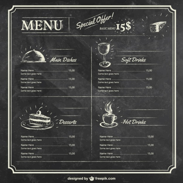 Free Editable Restaurant Menu Templates Luxury Menu Template On Blackboard Vector