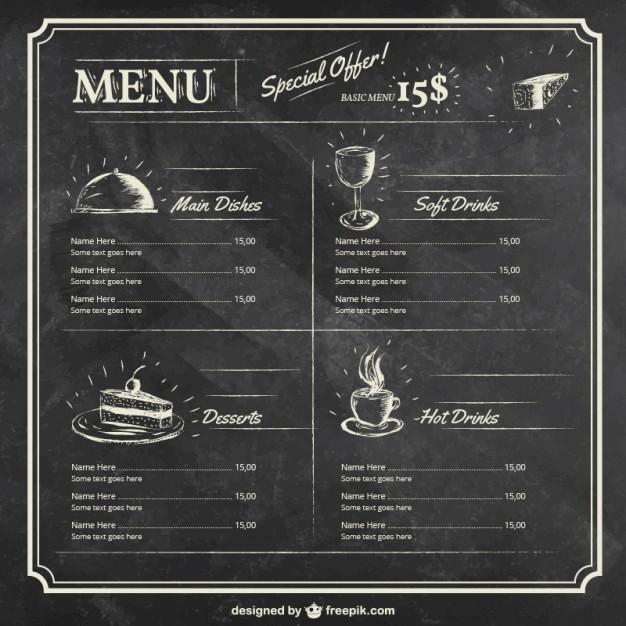Free Editable Restaurant Menu Templates Luxury Menu Template On Blackboard Vector
