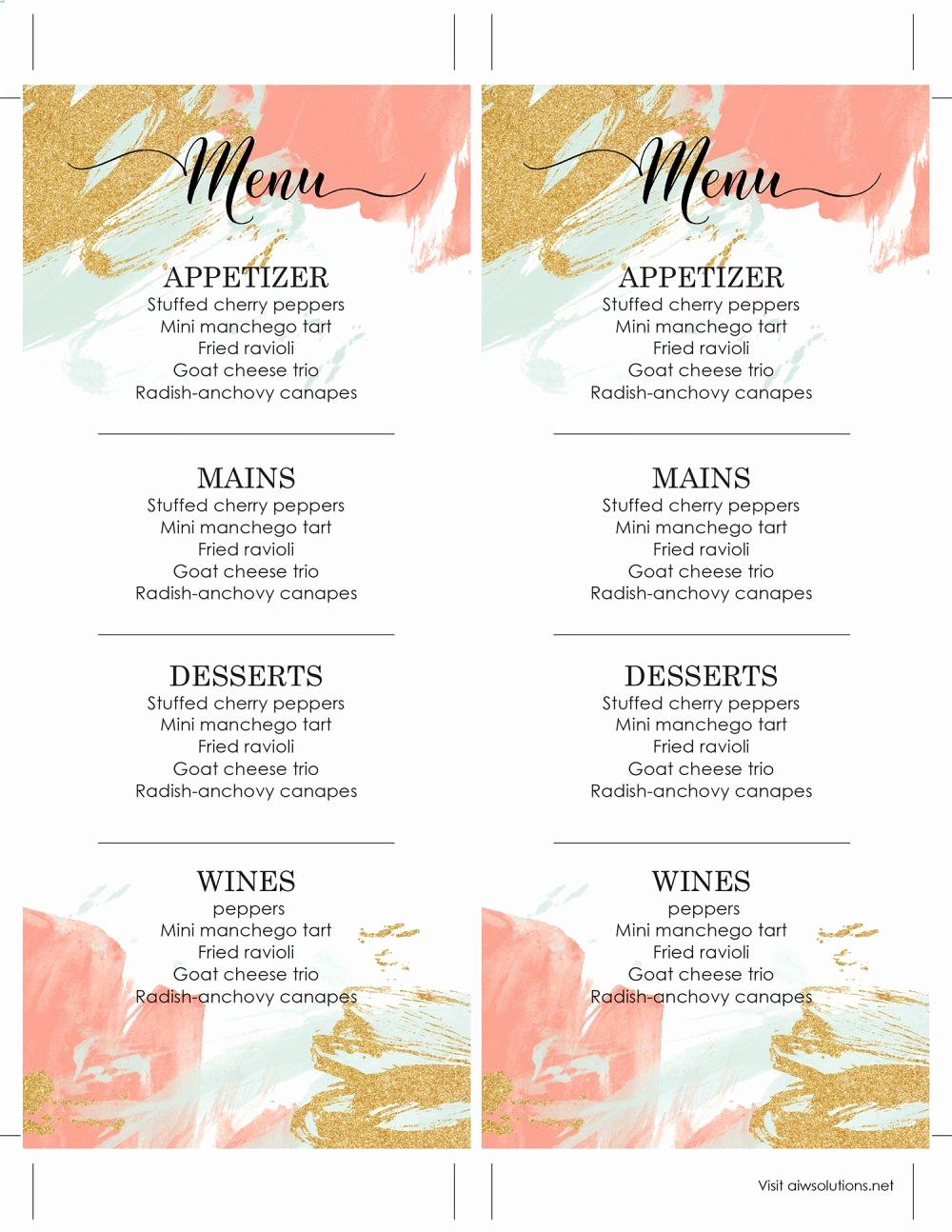 Free Editable Restaurant Menu Templates New Design & Templates Menu Templates Wedding Menu Food