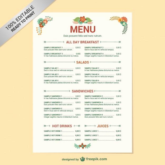 Free Editable Restaurant Menu Templates New Editable Restaurant Menu Template Vector