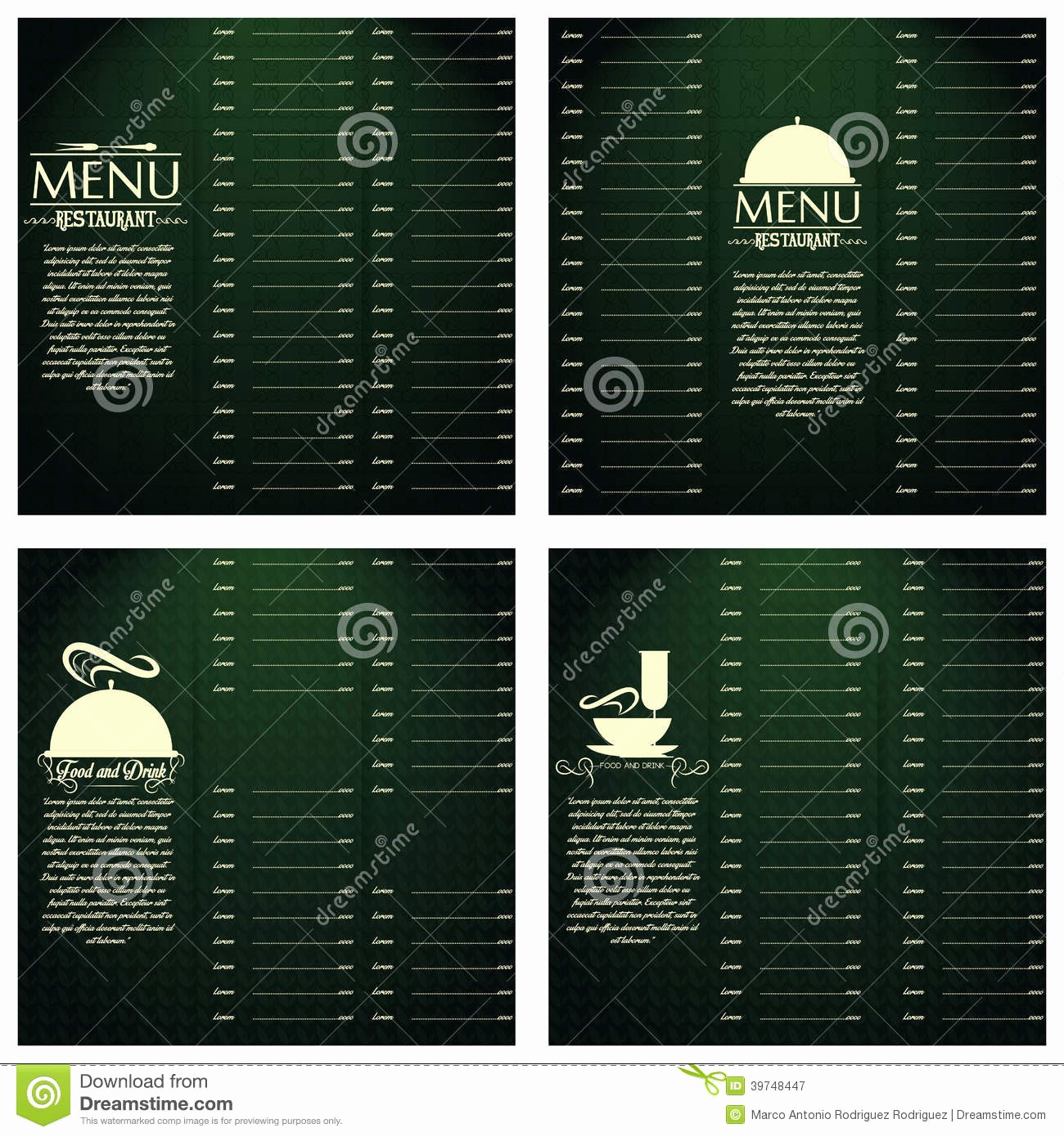 Free Editable Restaurant Menu Templates Unique Restaurant Menu Cards Design Template Editable Stock