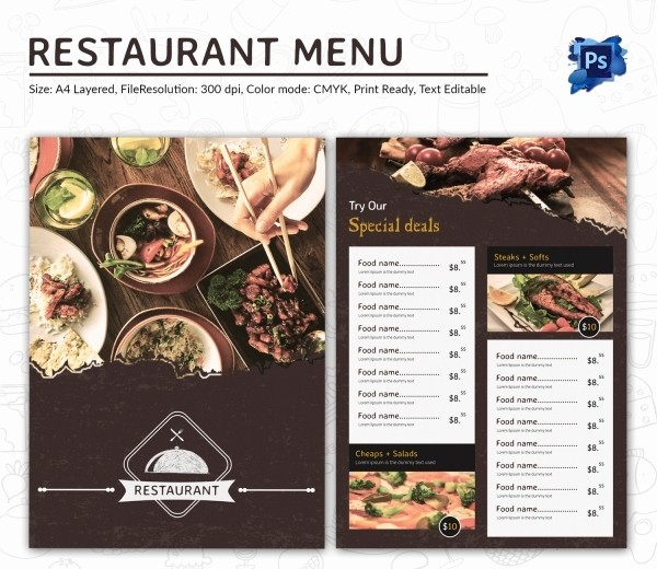 Free Editable Restaurant Menu Templates Unique Restaurant Menu Template 45 Free Psd Ai Vector Eps