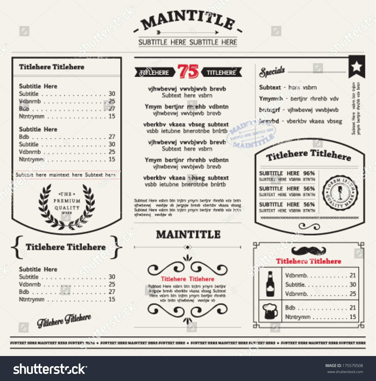 Free Editable Restaurant Menu Templates Unique Restaurant Menu Template Frames Graphic Elements Stock