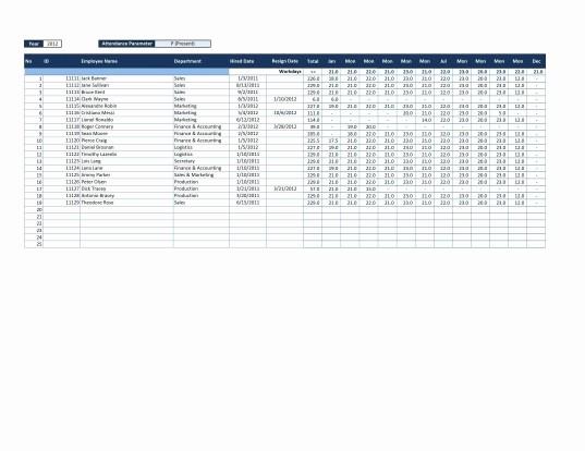 Free Employee attendance Calendar 2016 Beautiful 2016 Employee attendance Calendar Ppe