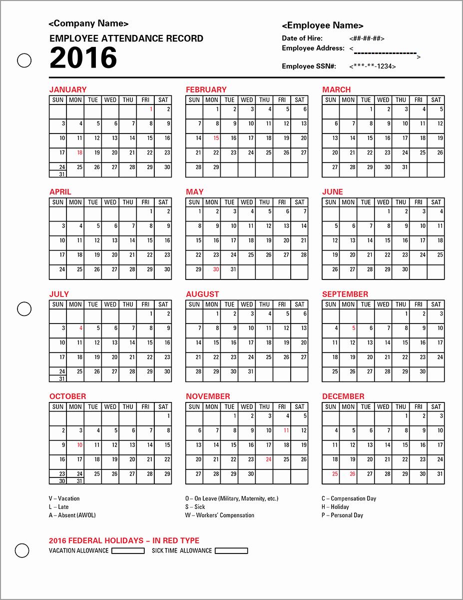 Free Employee attendance Calendar 2016 Best Of [free] Printable Calendar Templates 2016