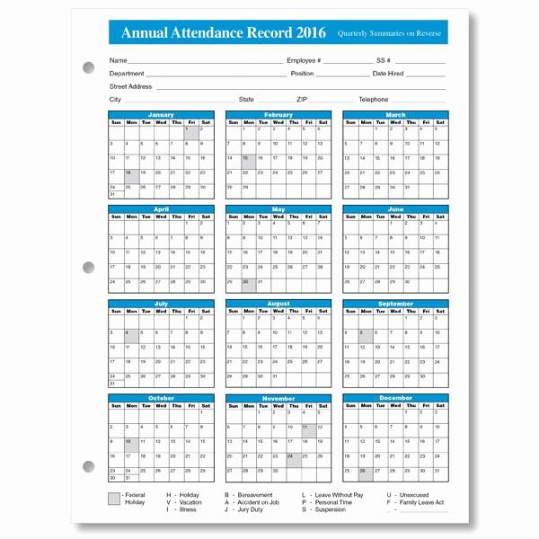 Free Employee attendance Calendar 2016 Elegant 2016 attendance Calendar Free