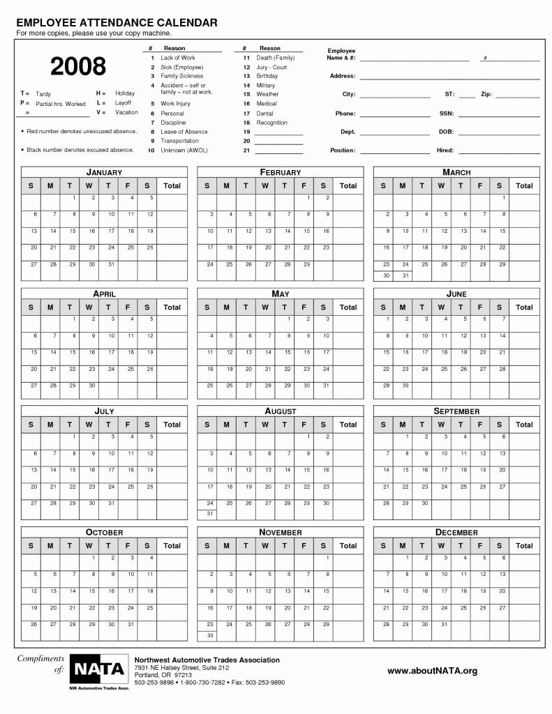 Free Employee attendance Calendar 2016 Elegant Free Printable Employee attendance Calendars Free