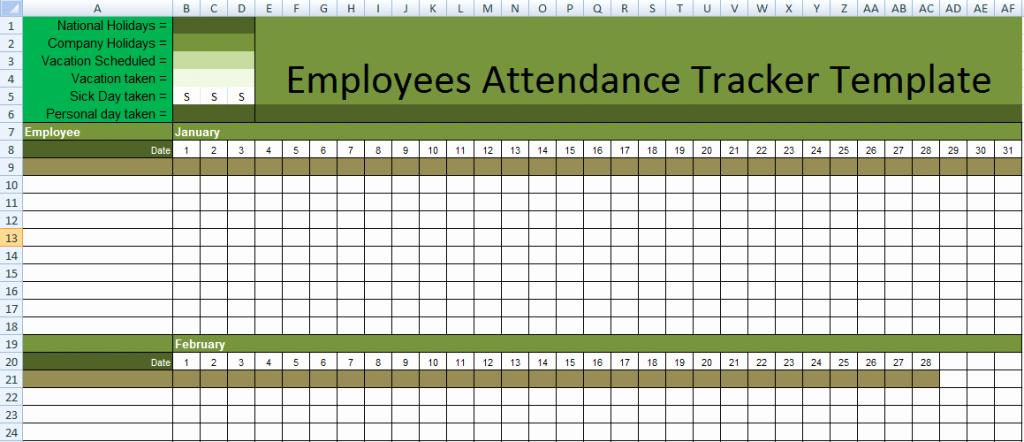 Free Employee attendance Calendar 2016 Fresh attendance Sheet for Employees Excel 2016