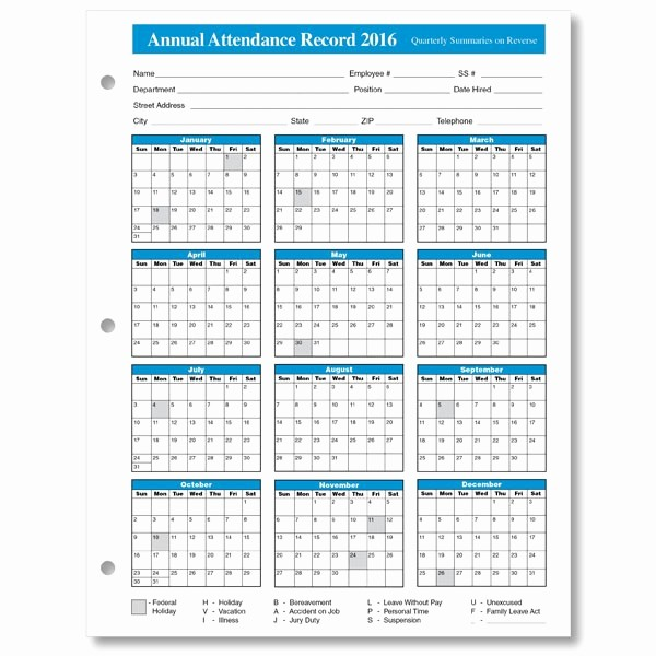 Free Employee attendance Calendar 2016 Fresh Printable attendance Calendar Search Results for