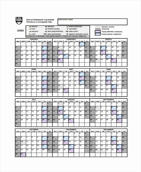 Free Employee attendance Calendar 2016 Luxury Free Printable 2018 2019 Employee attendance Calendar 2016