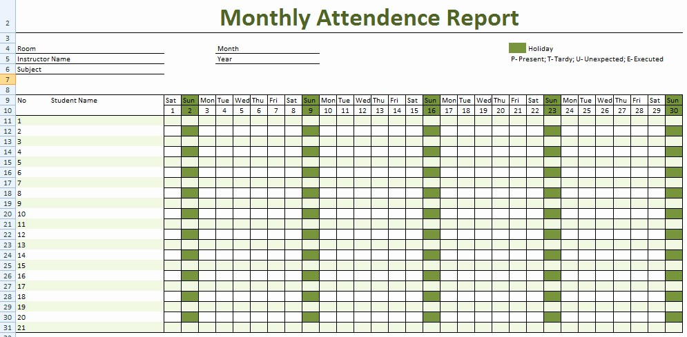 Free Employee attendance Calendar 2016 Luxury Printable Employee attendance Calendar Excel 2017