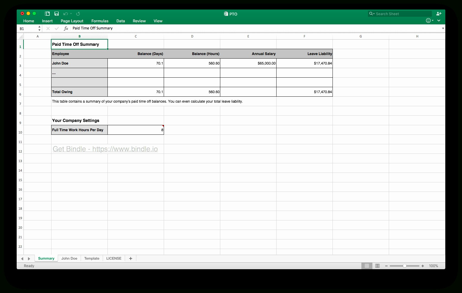 employee paid time off tracking spreadsheet