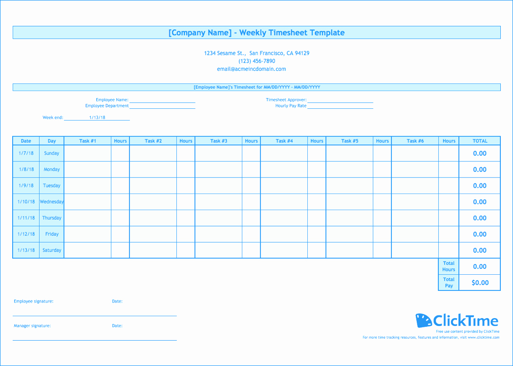Free Employee Time Tracking Spreadsheet Unique Weekly Timesheet Template Free Excel Timesheets