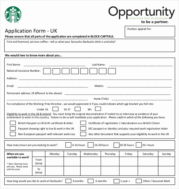 Free Employment Application form Download Awesome 10 Restaurant Application Templates – Free Sample