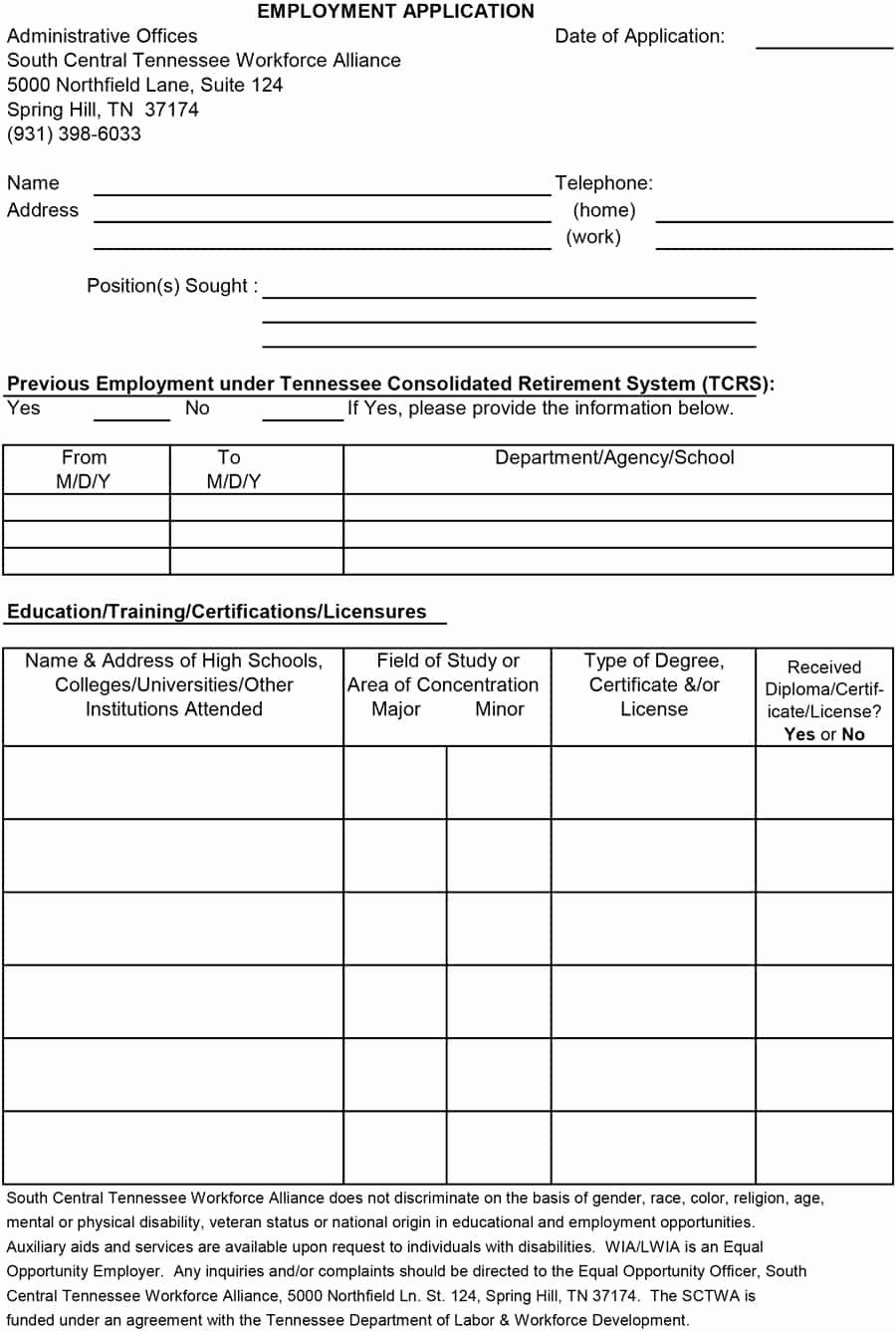 Free Employment Application form Download Best Of 50 Free Employment Job Application form Templates