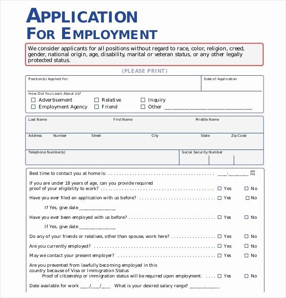 Free Employment Application form Download Elegant Application form Templates – 10 Free Word Pdf Documents
