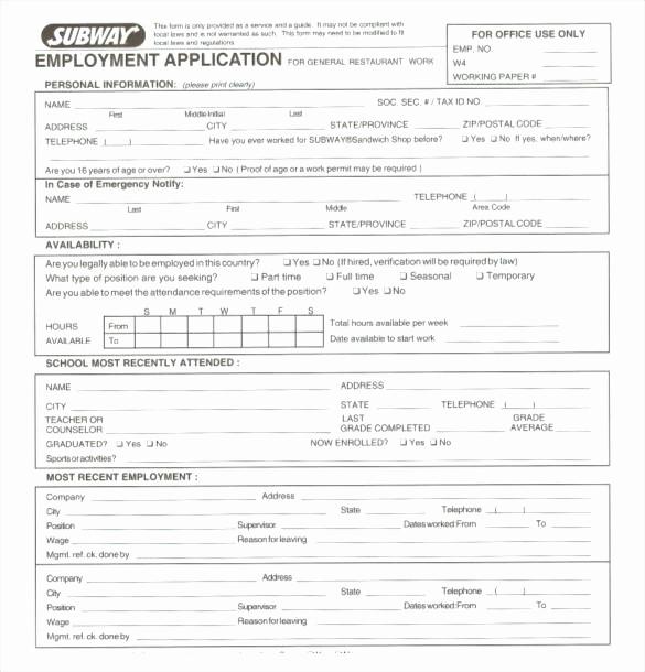 Free Employment Application form Download Elegant Free Printable Subway Restaurant Employment Application