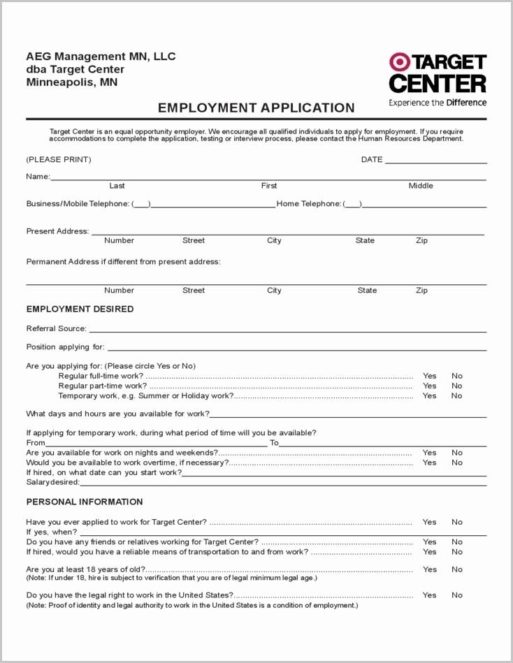 Free Employment Application form Download Elegant Printable Job Application form for Tar